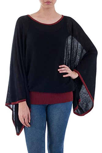 NOVICA Black Alpaca Blend Sweater, Black Burgundy Dance' ()