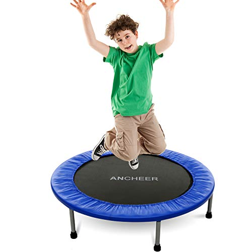 ANCHEER 38-40Inch Foldable Mini Trampoline Rebounder, Quiet and Safe Bounce Spring Mini Bouncer Fitness Trampoline Rebounder for Kids Adults in Home/Garden/Office Cardio Trainer ()