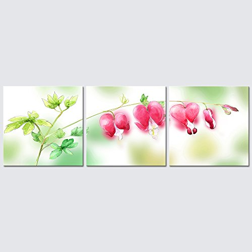 Wieco Art 3 Piece Floral Giclee Canvas Prints Wall Art Pink Dream Pictures Paintings Home Decorations for Living Room Bedroom Kitchen Modern Stretched and Framed Grace Contemporary Flowers Artwork ()
