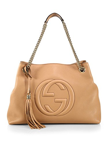 Gucci-Camelia-Camel-Pebbled-Leather-Soho-Shoulder-Hand-Bag-Tassel