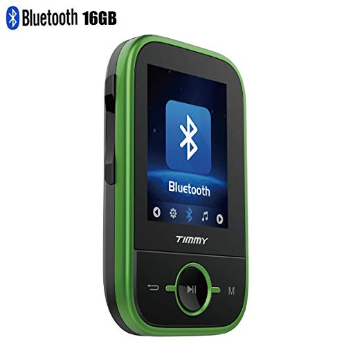 TIMMY MP3 Player with Bluetooth 16GB Digital Clip Music Player Support up to 64GB Sport Player (Green)