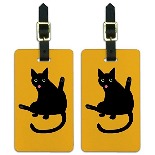 Black Cat Lifting Leg and Licking Luggage ID Tags Carry-On Cards - Set of 2
