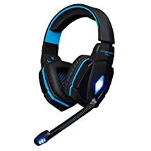 Gaming Headset, GranVela® G4000 High Performance Stereo Noise Isolation 3.5mm Plug Headphone Headset with Volume Control Microphone for PC Game (Blue)