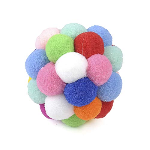 HS store Cute Pet Cat Toy Colorful Soft Bells Bouncy Ball Built-in Catnip Interactive Toy (L 7cm)