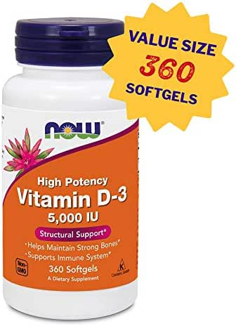 Now Foods Vitamin D3 (Cholecalciferol) - 5,000 IU, 360 Softgels - High Potency Bone Health and Immunity Support Supplement, Mood Booster - Halal, Kosher - 360 Servings