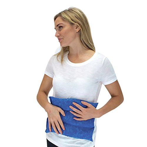 Nature Creation Lumbar Herbal Heating Pad/Cold Pack – Microwavable & Reusable Hot and Cold Therapy for Back Pain, Stomach Cramps (Blue Marble)