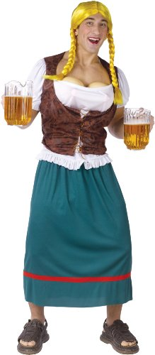 Fun World Bavarian Beauty with Fillable Beer Bust Adult Sized Costumes, Multi, STD. up to 6'/200 Lbs -