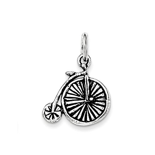 Solid Sterling Silver Antiqued Old Fashioned Bicycle Charm (Old Fashioned Bicycle)