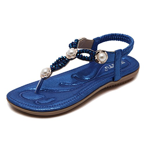 031 Blue Pearl - Lisianthus Women's Flat Sandals with Pearl Elastic Bohemian for Summer Beach Blue US8.5