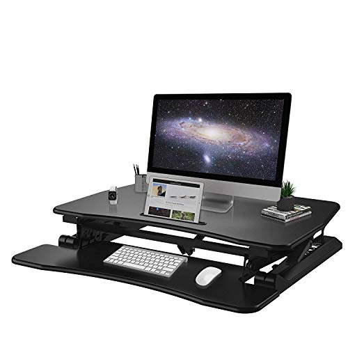 Height Adjustable Standing Desk with Sit Stand Converter and Lift up Monitor Riser for Office Desktop 35 Inches Black