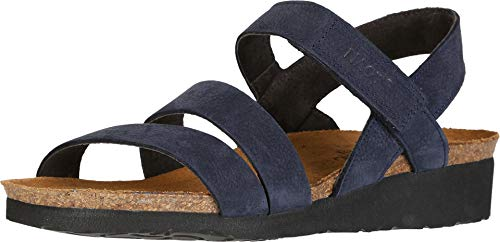 NAOT Footwear Women's Kayla Sandal Navy Velvet Nubuck 7 M -