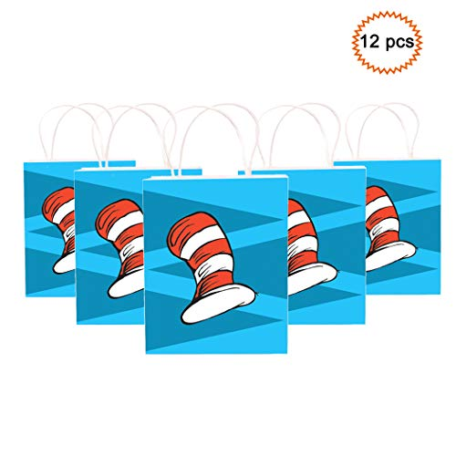 Happy Storm Cat's Hat Goodie Bags Cat Knows A Lot About That Birthday Party Supplies Favor Small Paper Gift Bags Goods Filling with Candies Toys Goods For Kids Baby Shower Party Decorations (12 packs)