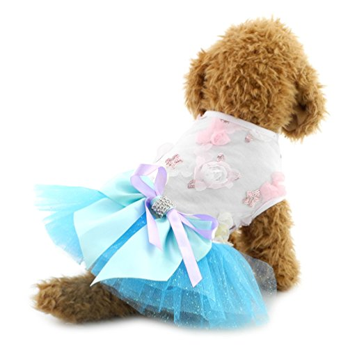 SMALLLEE_LUCKY_STORE Small Dog Sexy Party Dress with Bow tie Princess Tutu Dress Dog/Cat Clothes, Large, Blue