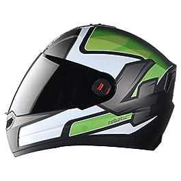 Steelbird SBA-1 Robotics Full Face Helmet in Matt Finish (Medium 580 MM, Matt Black/Green Helmet Fitted with Clear Visor…