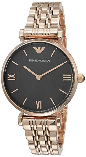 Emporio Armani Women's 'Gianni T-bar' Quartz Stainless-Steel-Plated Dress Watch, Color:Rose Gold-Toned (Model: AR11145)
