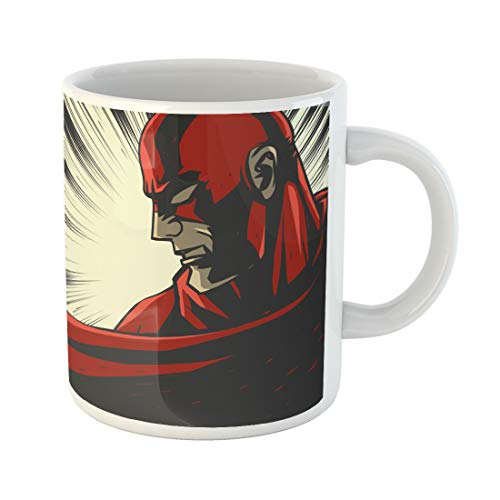 Semtomn Funny Coffee Mug Hero Red Comic Book Pop Super Face Retro Mask Speed 11 Oz Ceramic Coffee Mugs Tea Cup Best Gift Or Souvenir -