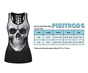Womens Skull Print Cut Out Workout Yoga Running Tank Tops Sleeveless Casual Shirts Tops