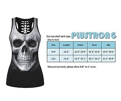 Womens Skull Print Cut Out Workout Yoga Running Tank Tops Sleeveless Casual Shirts Tops
