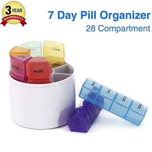 - GSLL 7 Days Pill Organizer Box, Medicine Remainder Round Small Pill Case 28 Compartments Rainbow Color