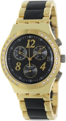 Swatch YCG405G dreamnight yellow black dial metal strap unisex watch ()