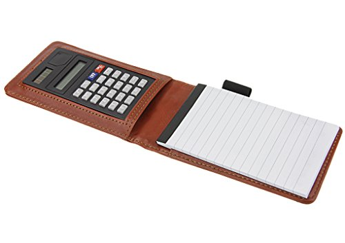 Deluxe Pu Leather Pocket Memo Book Note Pads Holder Jotter Organizer Business Writing Pad Flip Note Cover with 8 Digit Calculator, A7 Size 30 Sheets White Paper Narrow Ruled Memo Scratch Pads and Pen