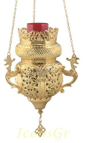 Gold Plated Orthodox Greek Christian Bronze Hanging Votive Vigil Oil Lamp with Chain and Red Glass - 9699g by Iconsgr