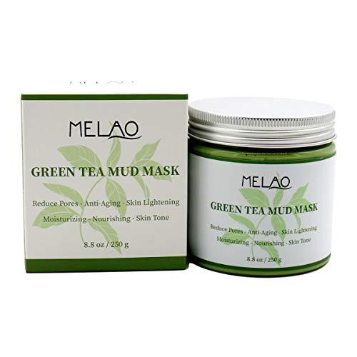 (MELAO Green Tea Facial Care Mud Mask, Removes Blackheads, Reduces Wrinkles, Nourishing, Moisturizing, Improves Overall Complexion, Antioxidant, Skin Lightening & Anti Aging, 8.8 oz)