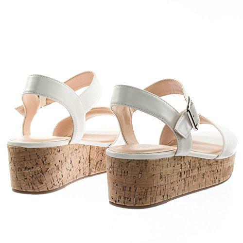Stad Klassificeras Retro Kork Platt Plattform Flatform Sandal W Ankelbandet Vit