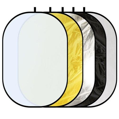 Glow 5 In 1 Collapsible Reflector - Black, White, Zebra gold, Silver, Trans - 40'' x 60'' by Glow