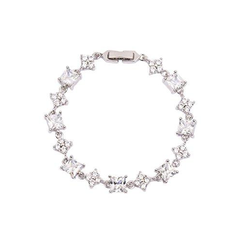 - AMYJANE Women's Cubic Zirconia Tennis Bracelet - Platinum Plated Sterling Silver Square Swarovski Crystal CZ Bride Bracelet for Wedding Party Prom Bridal Jewelry Bridesmaids Gift