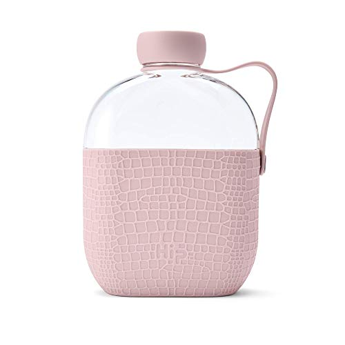 Hip 22 oz. BPA Free Water Bottle Flask with Silicone Sleeve and Carrying Handle – Dusty Pink