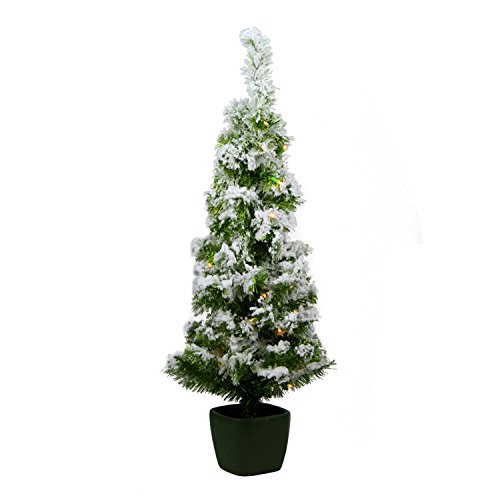 Northlight Pre-Lit Potted Flocked Green Artificial Christmas Tree with Clear Lights, 3.5' x 18'' - Flocked Tree