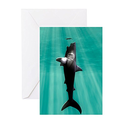 (CafePress Megalodon Prehistoric Shark With Hum Greeting Card, Note Card, Birthday Card, Blank Inside Glossy )