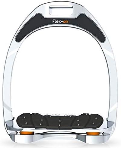 【Amazon.co.jp 限定】フレクソン(Flex-On) 鐙 アルミニウムレンジ Inclined ultra-grip フレームカラー:シルバー エラストマー:オレンジ 81838