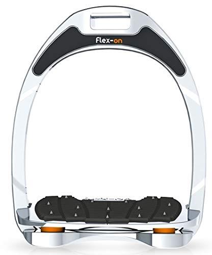 【 限定】フレクソン(Flex-On) 鐙 アルミニウムレンジ Inclined ultra-grip フレームカラー:シルバー エラストマー:オレンジ 81838   B07KMPZZPY