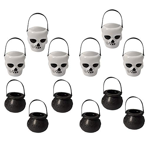 - 12 Pcs Mini Halloween Cauldron with Handle, Black Witch White Skull Barrels Candy Cookies Kettles Party Hanging Props Novelty Packing Can