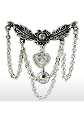 Leaflet Chandelier Chained Heart Top Down Dangle Belly Button Ring 316L Surgical Steel 14g Navel Ring