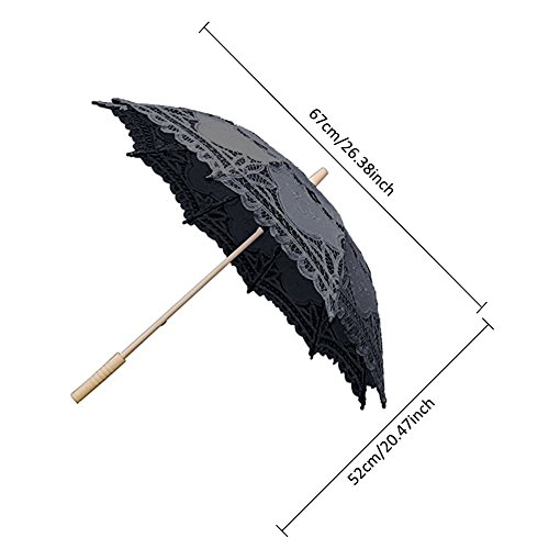 Ladeyi Lace Umbrellas, Handmade Bridal Parasol Umbrella Wedding Decoration (Black) by LADEY (Image #3)