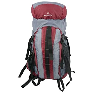 LM152M Maroon-Grey Hiking Backpack with Internal Frame