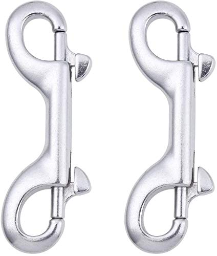 2-Pack 316 Stainless Steel Double Ended Bolt Snap Hook 3-1//2 Inch Double End Snap Trigger Chain Diving Clips for Water Bucket//Dog Leash//Pet Feed Bucket//Pet Hammock//Horse Tack and More Silver