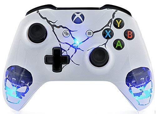 Skulls White Xbox One S Rapid Fire Custom Modded Controller 40 Mods for All Major Shooter Games, Auto Aim, Quick Scope, Auto Run, Sniper Breath, Jump Shot, Active Reload & More (with 3.5 Jack) (Modded Xbox Controller Aimbot)