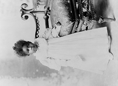 Young African American Girl in White Dress Photograph (9x12 Art Print, Wall Decor Travel Poster)