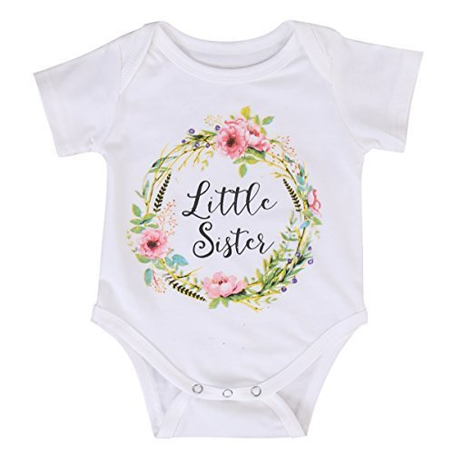 (MA&BABY Newborn Baby Girls Romper Tops White Shirt Sisters Outfits Clothes Set (0-3 Months, for Little Sister))