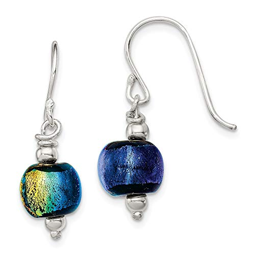 (925 Sterling Silver Dichroic Glass Bead Drop Dangle Chandelier Earrings Fine Jewelry Gifts For Women For Her )