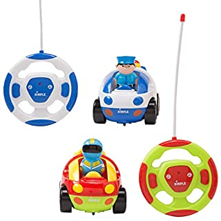 Dimple Cartoon Remote Control (R/C) Police & Racing Car Set for Kids Radio Control Toys for Kids and Toddlers with Sound and Lights, Different Frequency so Both Can Race Together - Set of 2
