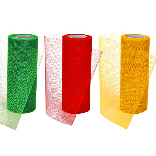 Tatuo 3 Spools Valentines Day Tulle Rolls Tulle Netting Rolls Tulle Fabric Spool Ribbons, 6 Inches by 75 Feet (Red, Green and Gold)