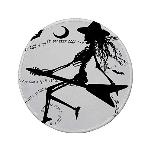 Non-Slip Rubber Round Mouse Pad,Music,Witch Flying on Electric Guitar Notes Bat Magical Halloween Artistic Illustration,Black White,11.8