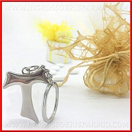Ingrosso e Risparmio Schön und Spart 12 versilberter Schlüsselanhänger aus poliertem Metall in Form eines Kreuz Tau Bonboniers für Kommunion und Konfirmation