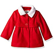 Osh Kosh Baby Girls Sweet Faux Wool Jacket Dress Coat, Ruby, 12M