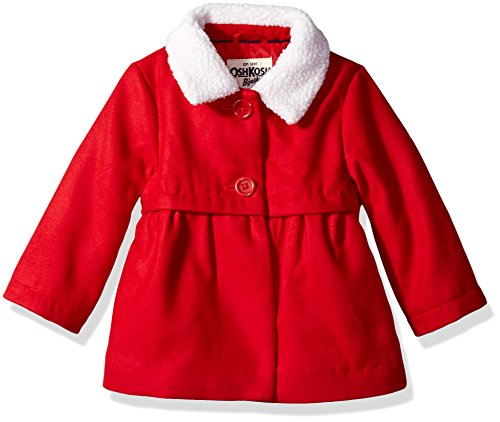 Osh Kosh Baby Girls Sweet Faux Wool Jacket Dress Coat, Ruby, 24M